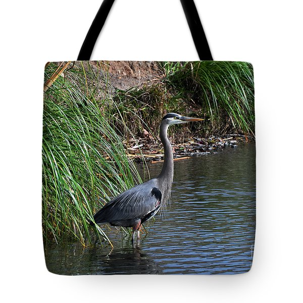 Great Blue Heron In Profile Tote Bag