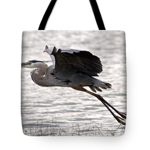 Great Blue Heron Landing Series 1 Tote Bag