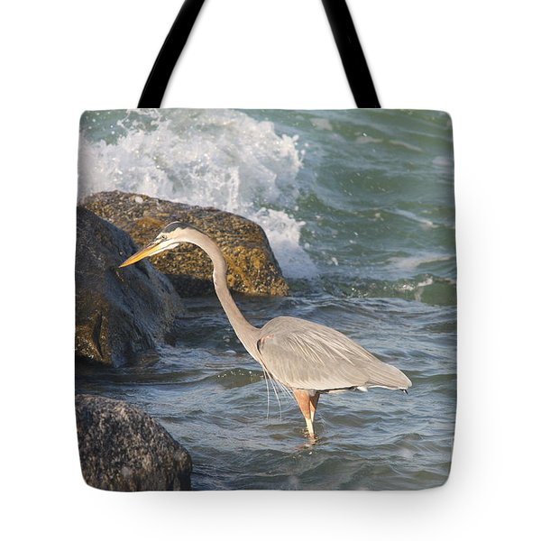 Great Blue Heron On The Prey Tote Bag by Christiane Schulze Art And Photography
