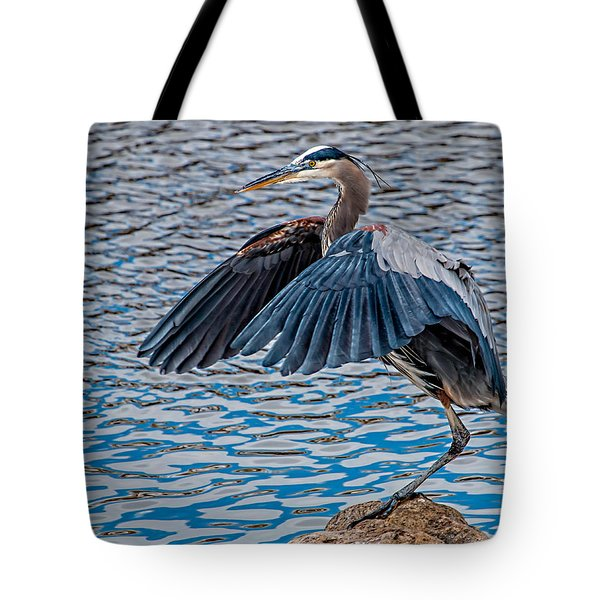 Great Blue Heron Pose Tote Bag