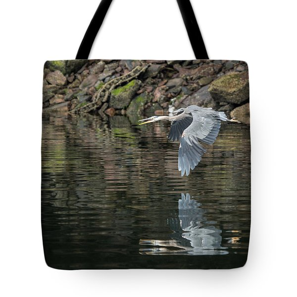 Tote Bag featuring the photograph Great Blue Heron Reflections by Jennifer Casey