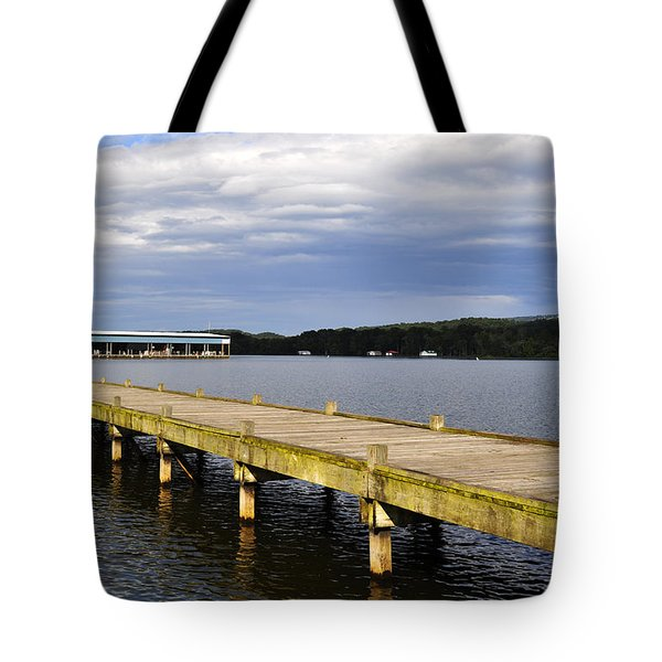 Great Blue Heron Sunning On The Dock Tote Bag