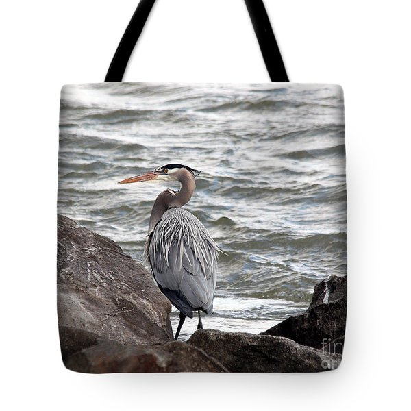 Tote Bag featuring the photograph Great Blue Heron by Trina  Ansel