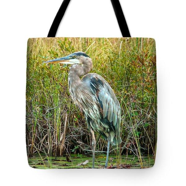 Great Blue Heron Waiting For Supper Tote Bag by Eti Reid