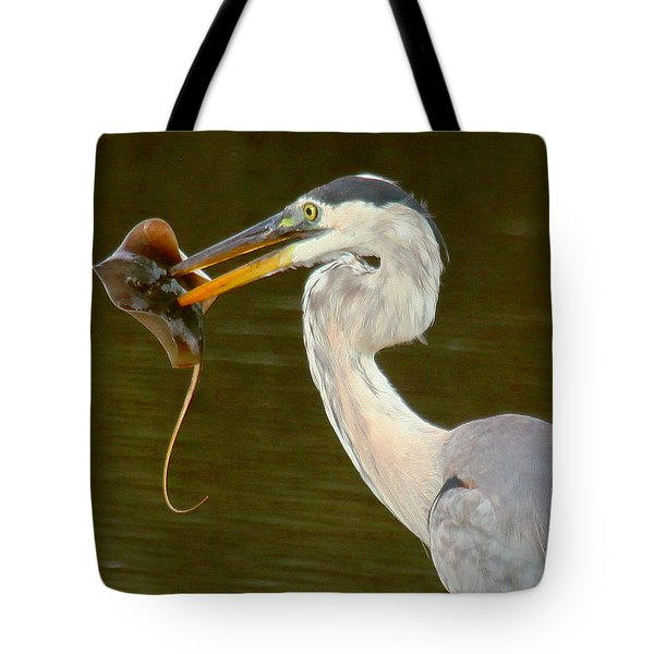Great Blue Heron With Stingray Tote Bag by Myrna Bradshaw