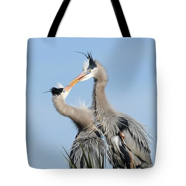 Great Blue Herons At Nest Kissing Tote Bag