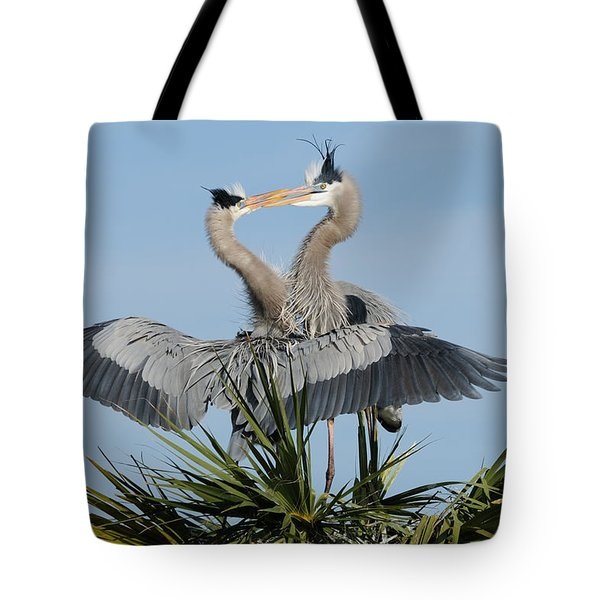 Great Blue Herons Courting Tote Bag