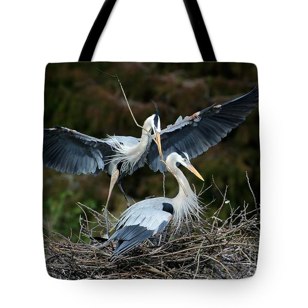 Tote Bag featuring the photograph Great Blue Herons Nesting by Sabrina L Ryan