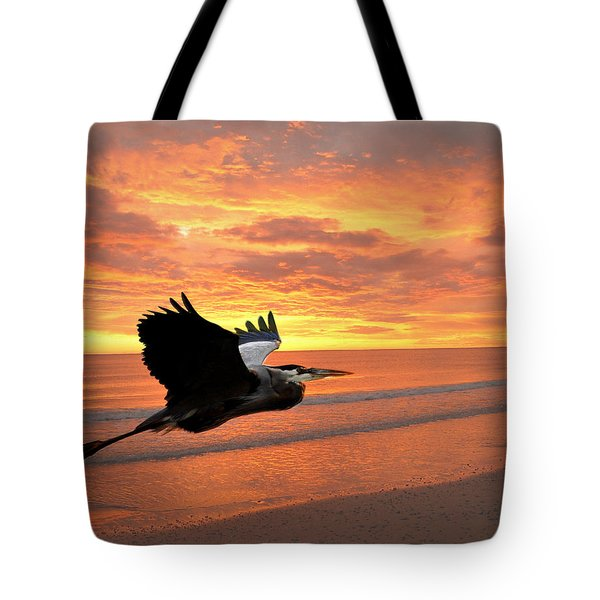 Great Blue In Flight 5 Tote Bag by Marty Koch