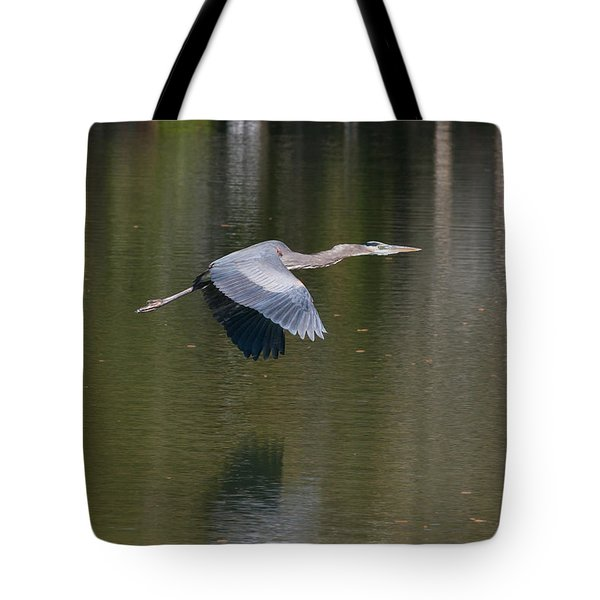 Tote Bag featuring the photograph Great Blue Over Green by Paul Rebmann