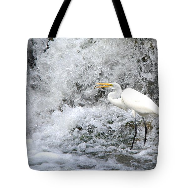 Great Egret Hunting At Waterfall Series 1 Tote Bag