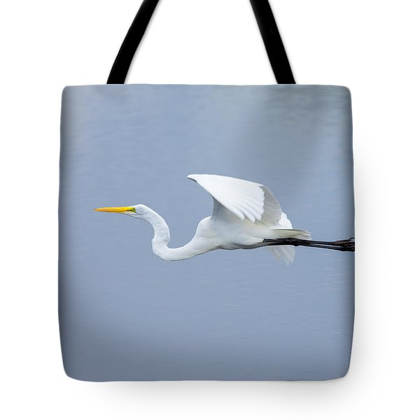Tote Bag featuring the photograph Great Egret In Flight by John M Bailey
