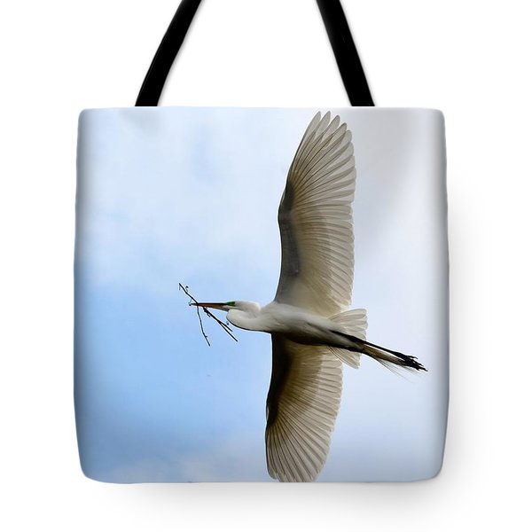 Great Egret In Flight Tote Bag by Richard Bryce and Family
