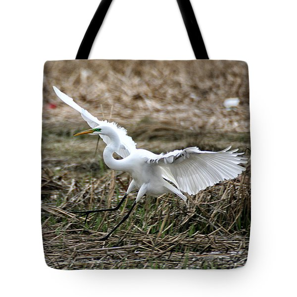 Tote Bag featuring the photograph Great Egret Landing by William Selander