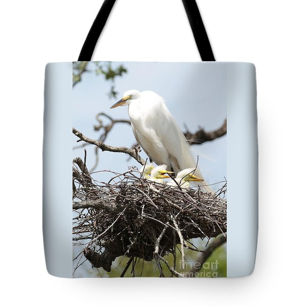 Great Egret Nest With Chicks And Mama Tote Bag by Carol Groenen