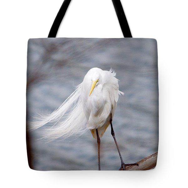 Great Egret Windy Portrait Tote Bag