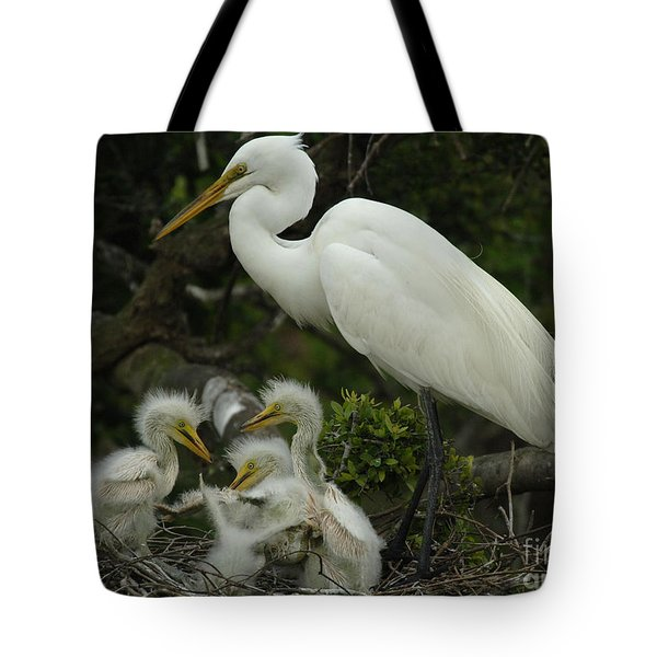Great Egret With Young Tote Bag by Bob Christopher