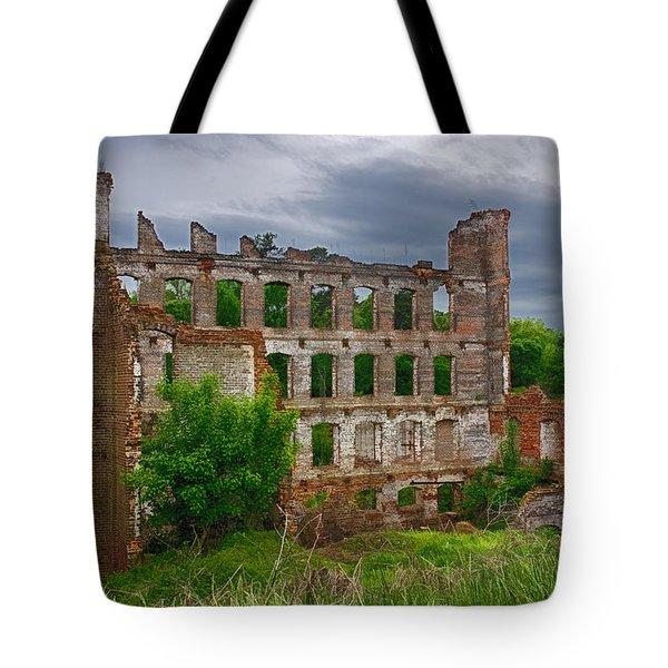 Great Falls Mill Ruins Tote Bag by Priscilla Burgers