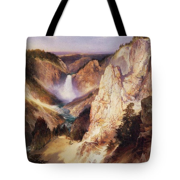 Great Falls Of Yellowstone Tote Bag by Thomas Moran