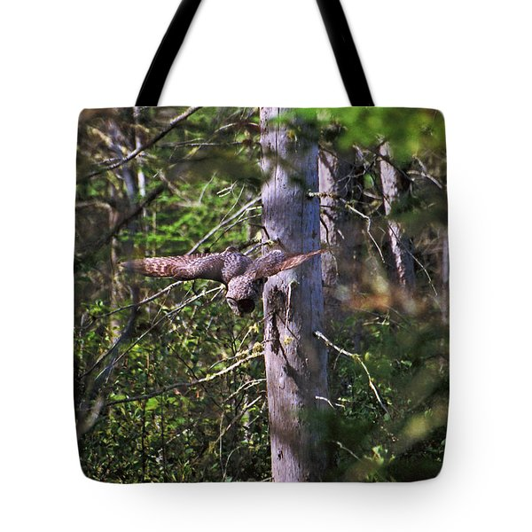 Great Grey Owl Pounces  Tote Bag