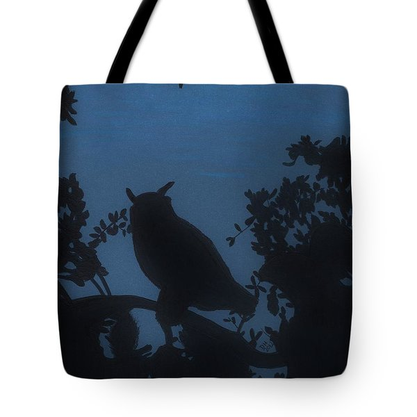 Tote Bag featuring the drawing Owl At Night by D Hackett
