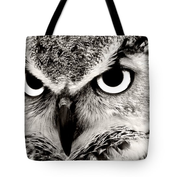 Great Horned Owl In Black And White Tote Bag