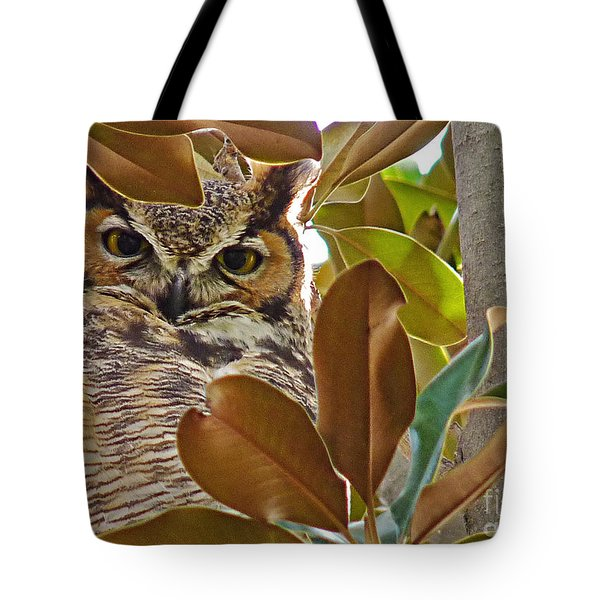 Tote Bag featuring the photograph Great Horned Owl by Meghan at FireBonnet Art