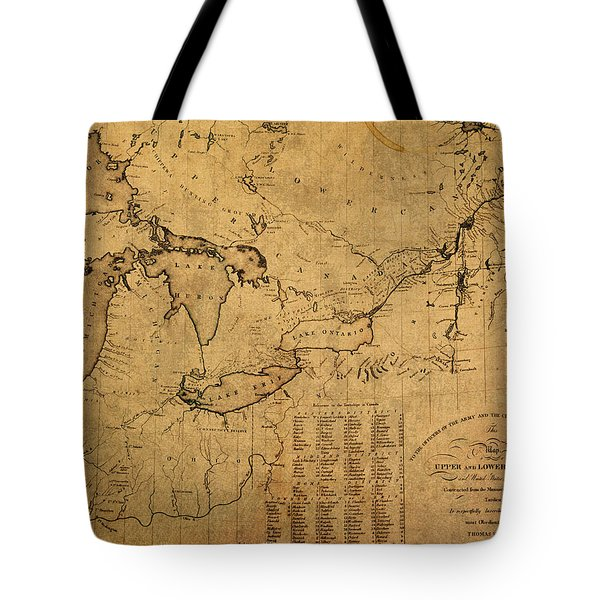 Great Lakes And Canada Vintage Map On Worn Canvas Circa 1812 Tote Bag