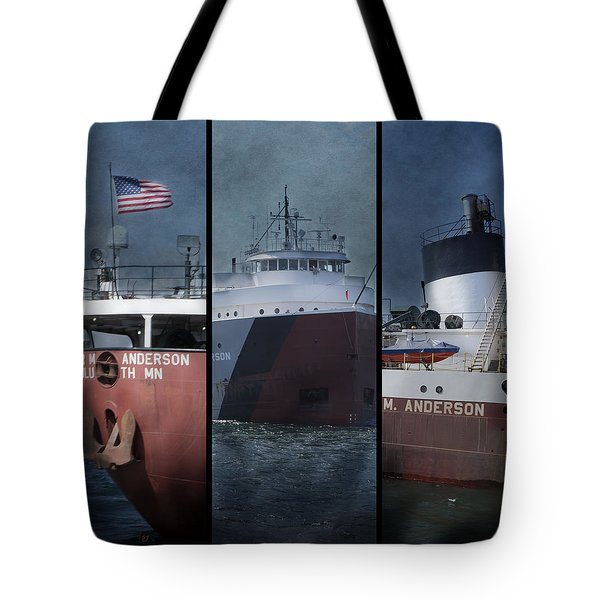 Great Lakes Freighter Triptych Arthur M Anderson Tote Bag