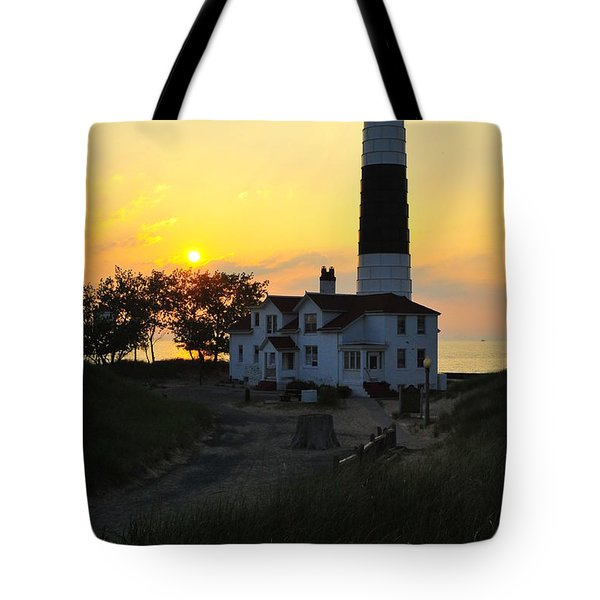 Great Lakes Lighthouse Big Sable Point Tote Bag by Terri Gostola