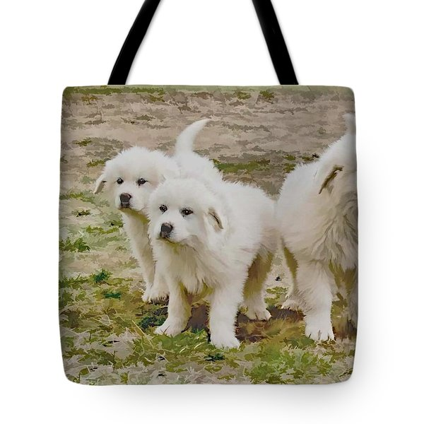 Great Pyranese Puppies Tote Bag by Bonnie Willis