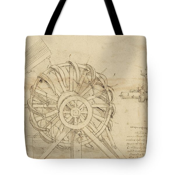 Great Sling Rotating On Horizontal Plane Great Wheel And Crossbows Devices From Atlantic Codex Tote Bag by Leonardo Da Vinci