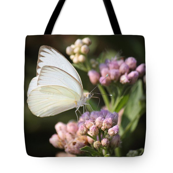 Great Southern White Butterfly On Pink Flowers Tote Bag