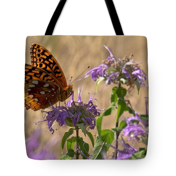 Great Spangled On Bee Balm Tote Bag by Shelly Gunderson