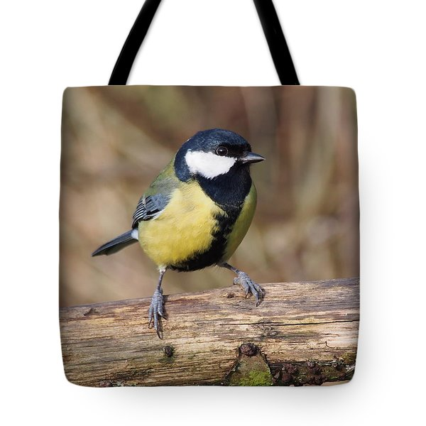 Great Tit On A Log Tote Bag