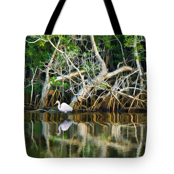 Great White Egret And Reflection In Swamp Mangroves Tote Bag