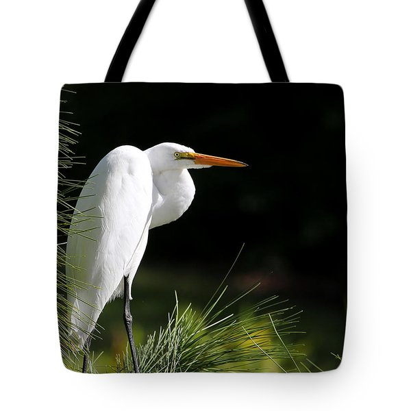 Great White Egret In The Tree Tote Bag by Sabrina L Ryan