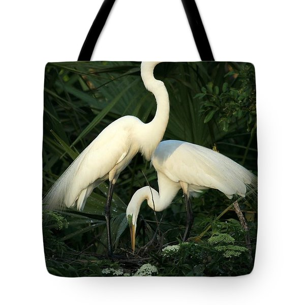 Great White Egret Mates Tote Bag