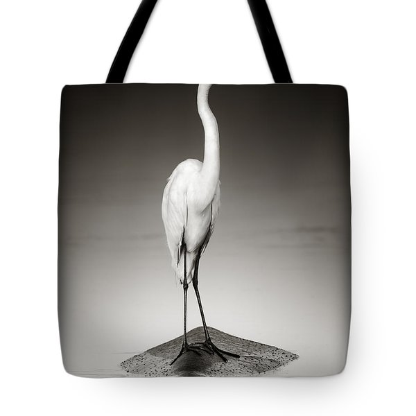 Great White Egret On Hippo Tote Bag