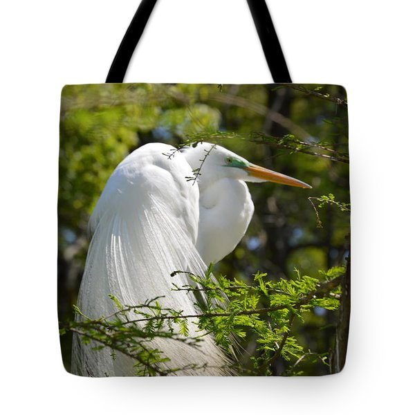 Great White Egret On Nest Tote Bag