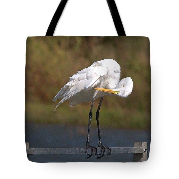Great White Egret Preening Tote Bag
