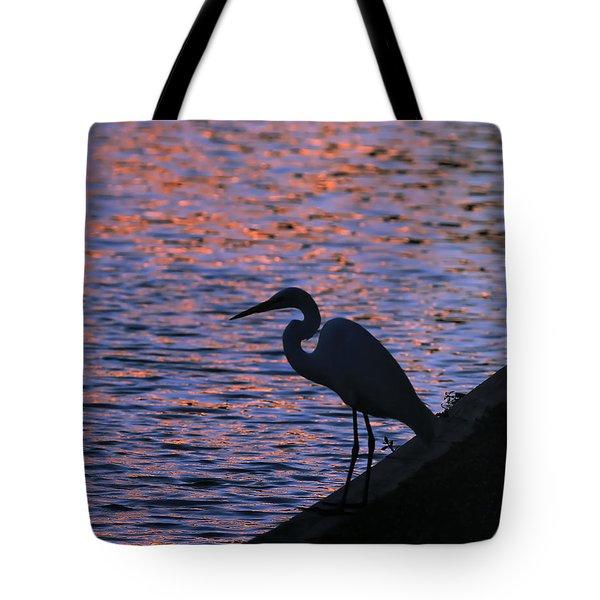 Great White Egret Silhouette  Tote Bag