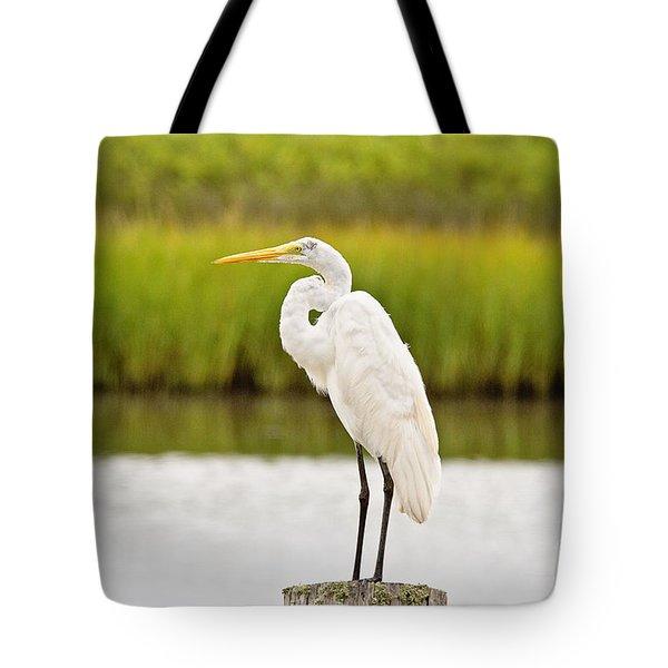 Great White Heron Tote Bag by Scott Pellegrin