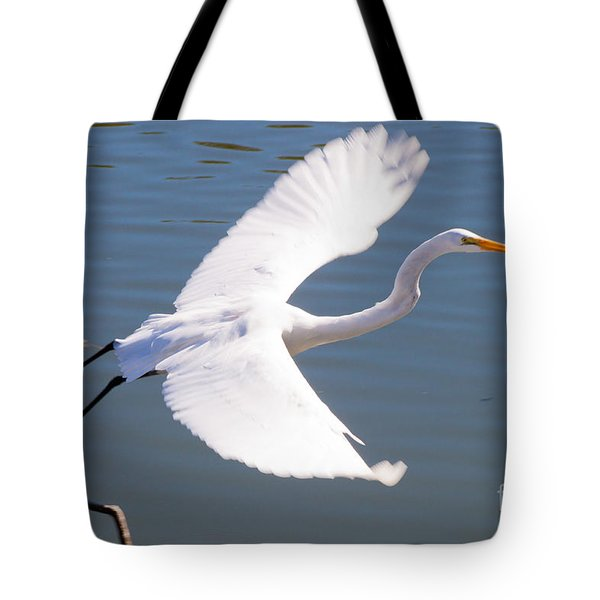 Greeat Egret Flying Tote Bag by Thomas Marchessault