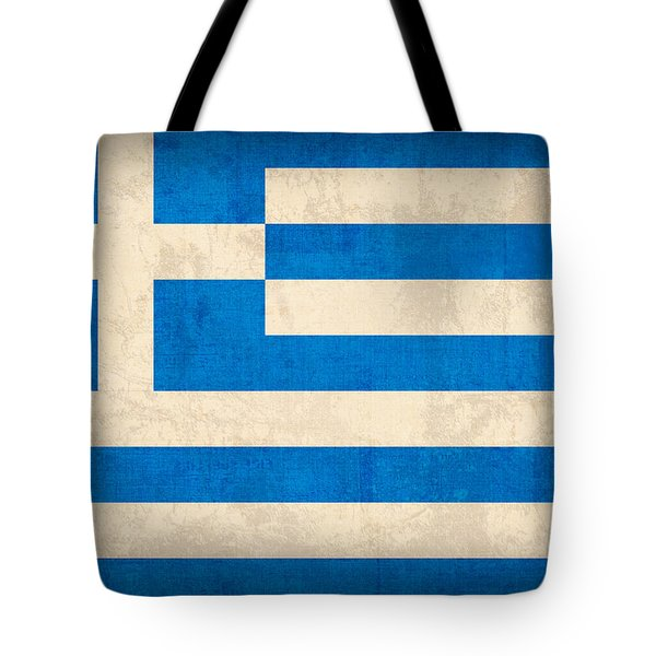 Greece Flag Vintage Distressed Finish Tote Bag by Design Turnpike