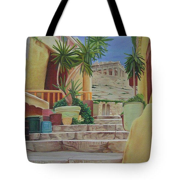Tote Bag featuring the painting Greece by Joshua Morton