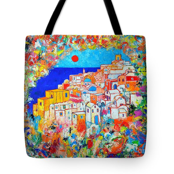 Greece - Santorini Island - Abstract Impression From Oia At Sunset - A Moment In Time Tote Bag by Ana Maria Edulescu