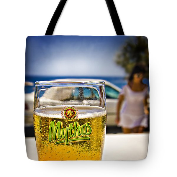 Tote Bag featuring the photograph Greek Beer Goggles by Meirion Matthias