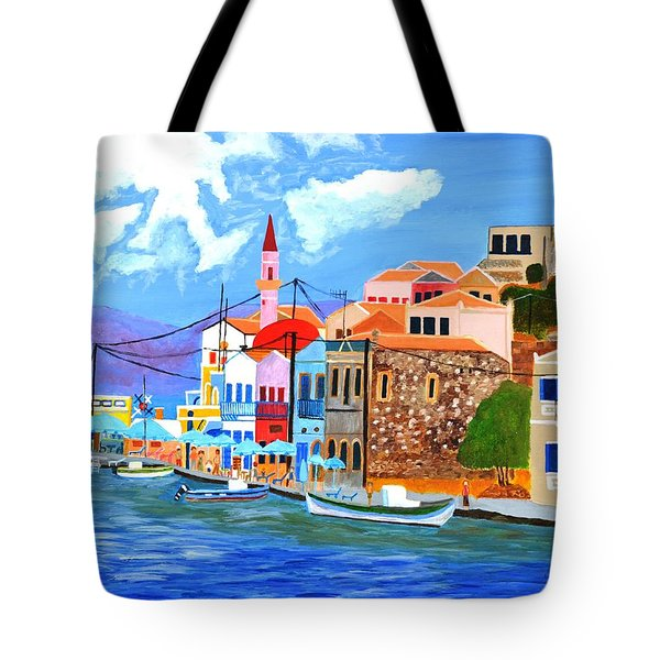 Tote Bag featuring the painting Greek Coast by Magdalena Frohnsdorff