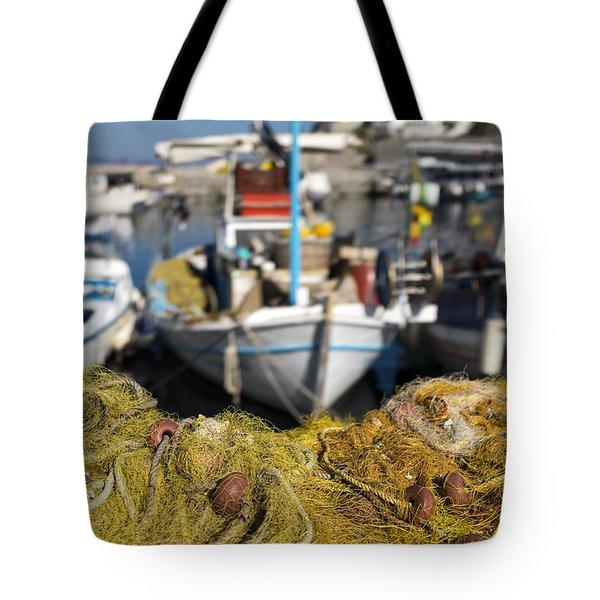 Greek Fishing Harbour Tote Bag